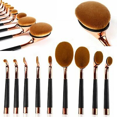 9pcs Golf Oval Toothbrush Cosmetic Makeup Powder Brushes Set Foundation Brush TY