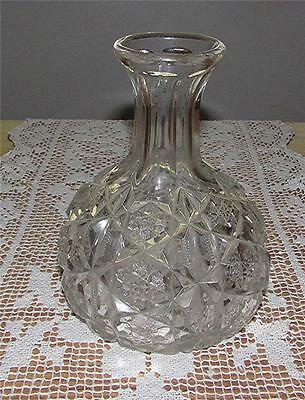 "Gorgeous Antique 8"" High Heavy Clear Cut Pressed Glass Bulb Shaped Flower Vase"