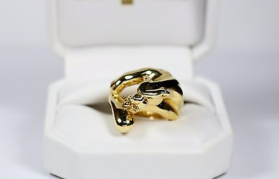 Italy 14k Yellow Gold High Polished Panther Couger Ring Size 7 1/4
