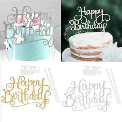 """""""Happy Birthday""""Simple Gold Silver DIY Cake Topper Party Supplies Decorations FT"""