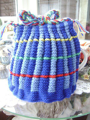 New Hand Knitted Vintage Style ~ Multi Colour Tea Cosy ~Large Size