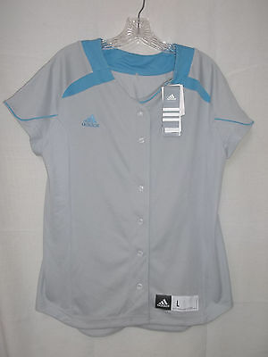 adidas Women's Large Gray Button Front Softball Jersey Shirt  NEW WITH TAGS