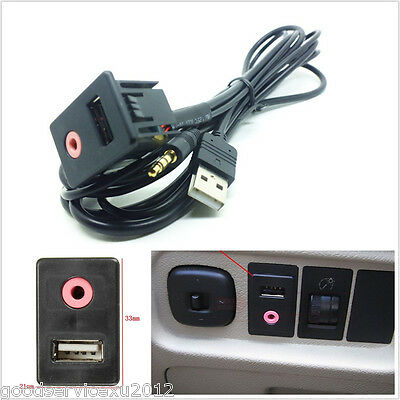 Car SUV Dash Audio 3.5mm USB AUX Headphone Male Mounting Adapter Panel Input Kit
