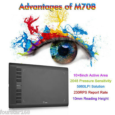 """UGEE M708 10""""x 6"""" Area Digital Art Graphics Drawing Tablet with Rechargeable Pen"""