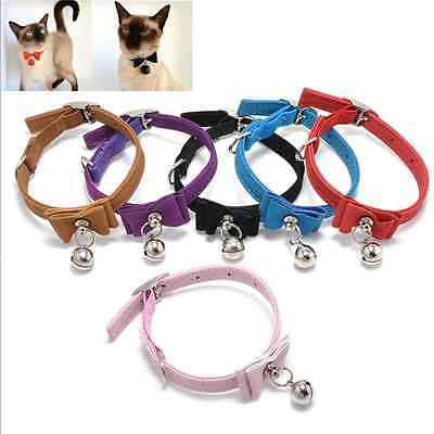 With Bell Pet Cat Kitten Puppy Soft Collar Adjustable Safety Buckle Neck Strap F