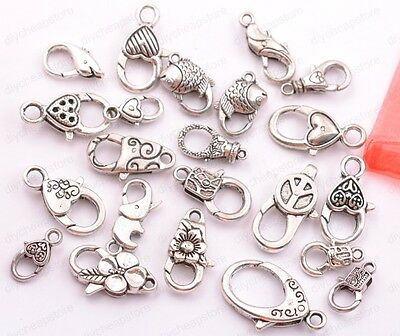 10Pcs Tibetan Silver Charms Heart Lobster Clasps & Hooks DIY Jewellery Making