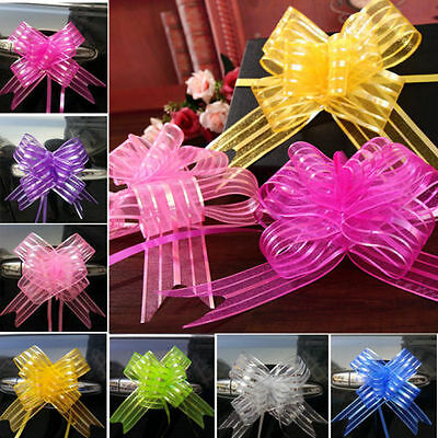 10pcs Pull Flower Ribbon Bow Gift Wrap Festive Gift Packing Decor Holiday UK