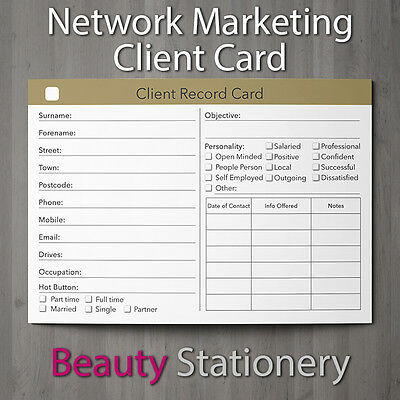 Network Marketing Client Record Card Consultation Amway NuSkin Forever Living A6