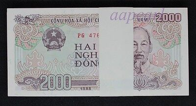 100pcs Vietnam 2000 Dong paper money UNC Banknotes brand new Uncirculated