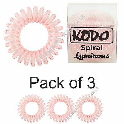 KODO Spiral Hair Bobble Pack of 3 LUMINOUS BABY PINK Invisible Hair Bands