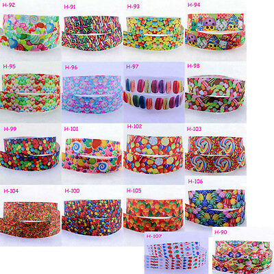 Wholesale! 1/5/10yds 7/8'' (22mm) Candy Cartoon Grosgrain Ribbon Hair Bow DIY A