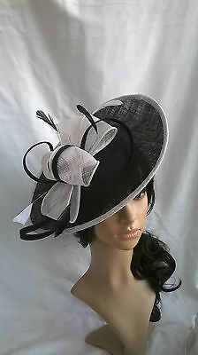 Black & White Feather Fascinator Hat.Shaped saucer disc,Wedding.headband.New