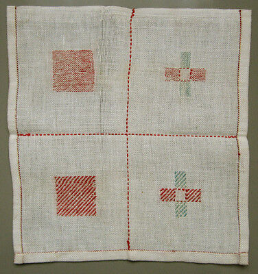 Circa 1900 - 1920 Old Dutch Darning Mending Sampler Schoolgirl Needlework