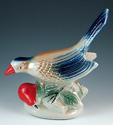Vintage 6.75 Inch Ceramic Lustre Ware Bird Figurine Made In Brazil Glossy