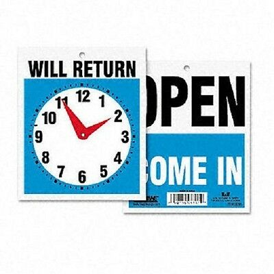 Headline Double Sided Open/Will Return Sign w/Clock Hands for Easy Resell - New