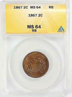 1867 2c Two Cent United States Coin ANACS MS 64 Red Brown VERY NICE