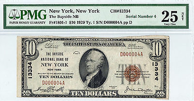 1929 $10 New York,NY National Bank Note.Serial Number 4.PMG-25Net
