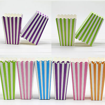 6pcs/lot Striped Shaped Popcorn DIY Candy Food Paper Box For Party Supply