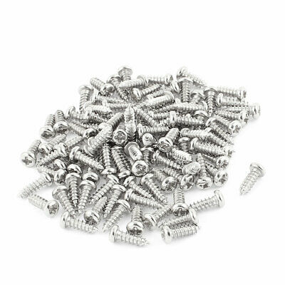 100 Pcs M2.5x8mm Stainless Steel Phillips Round Head Self Tapping Screws Bolts