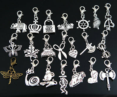 30/50/100pcs mix Dangle Bead Drop Fit Link Lobster Claw Clasp Clip Charm Pendant