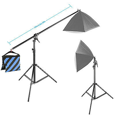 Neewer 10ft/3M Two Way Rotable Tripod Boom Light Stand with Sandbag