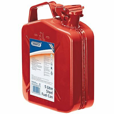 Draper 5L Car Garage/Mechanic/Emergency Steel Fuel Pouring Can - Red - 54456