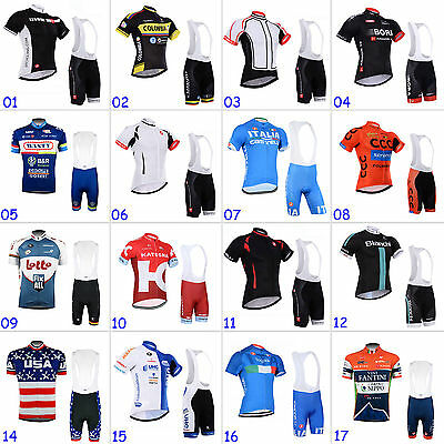 New Mens Cycling Jersey Short Sleeve Bib Shorts Suits Bicycle Clothing Quick Dry