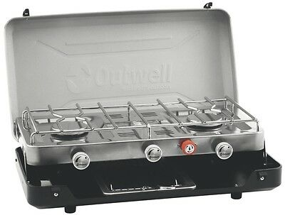 Outwell Gourmet Camping Cooking Cooker 3 Burner Stove With Grill