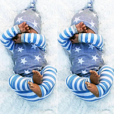 Striped Baby Boys Girls Tops T-shirt Pants Leggings Hat Outfits Set Clothes 3PCS