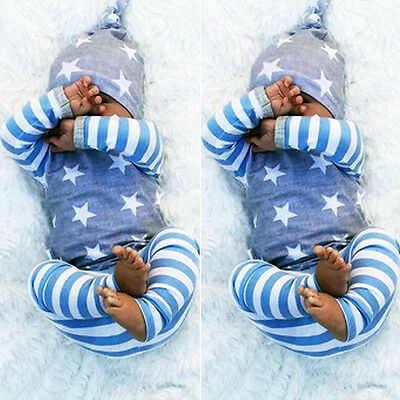Newborn Baby Girl Boy Clothes Long Sleeve Striped Tops+Pants Hat 3pcs Outfit Set