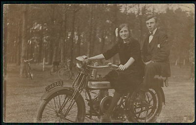 Motorcycle Douglas 2 3/4 hp original old 1920s Real Photo postcard