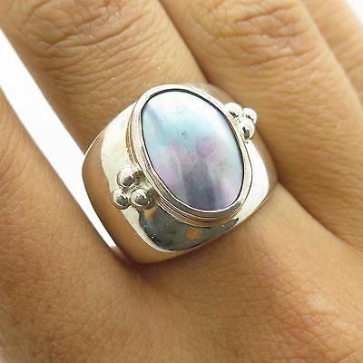 Shube Sterling Silver Mother of Pearl Beaded Smooth Women's Wide Ring Size 6