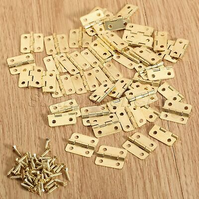50x Mini Jewelry Box Chest Case Cabinet Hardware Hinges Gold 18x17mm Decoration