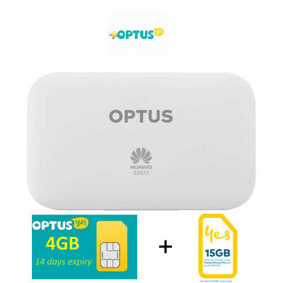 Optus Huawei E5573 WiFi 4G Mobile Pocket Modem with 4GB data included