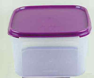 Tupperware Clear Storage Container Modular Mates #2 Square Purple Seal New