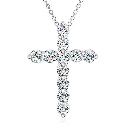 Silver Necklace Jewelry Cross Fashion crystal Cute Pretty charm 925 18inches