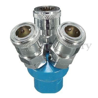 3 Way 1/4'' Y Type Pass Quick Fitting Connect Coupler Tool Air Hose Splitter New