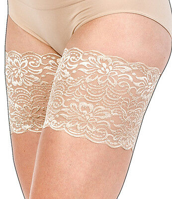 "Jasmine Bandelettes Nude/ Beige Anti-Chafing Lace Thigh Bands 21""-32"" 6 Sizes"