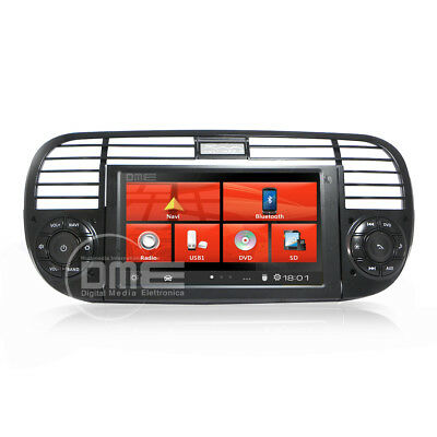 "Autoradio Fiat 500 6,2"" HD 1080P Touch Navigatore GPS DVD BT USB SD MirrorLink N"