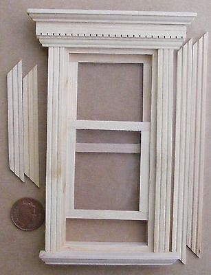 1:12 Georgian Working Sash Window Frame Dolls House Miniature Accessory 079