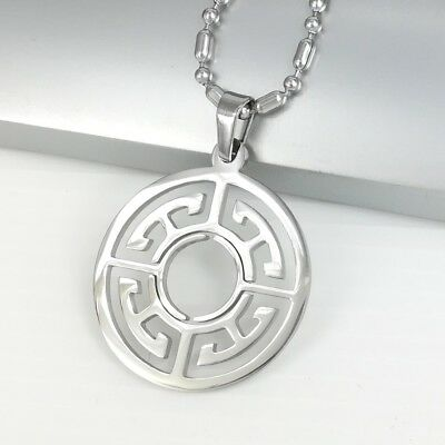 Silver Stainless Steel Circle Of Life Celtic Pendant Mens Chain Tribal Necklace