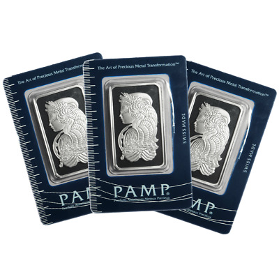 Lot of 3 - 1 Troy oz Pamp Suisse .999 Fine Silver Bar Fortuna