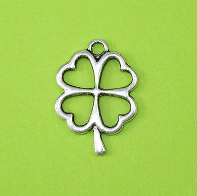Antique Silver Alloy Irish Celtic Four Leaf Clover Lucky Charm Pendant NEW
