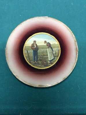 Rare Vintage Glass Chimney Flue Cover Victorian Picture of Man & Woman Farmers