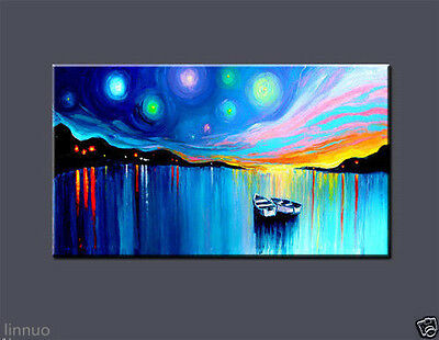 Large Modern Abstract Art Oil Painting On Canvas Wall Deco Boat No