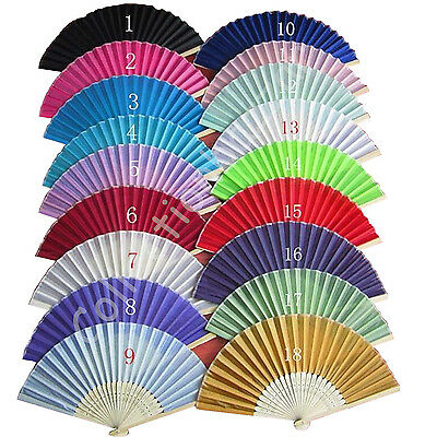 50Pcs Personalized Plain Colored Silk Hand Fan Wedding Favor with Print You Pick