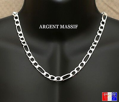 Grosse chaine large luxe en argent neuve massif 925 pour homme maille figaro