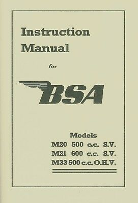 BSA Book M20 M21 M33 Reprinted Instruction Manual