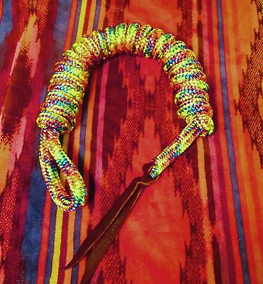"14' x 9/16"" RAINBOW Multi Color Yacht Horse Lead Rope w Spliced Loop, Tail USA"