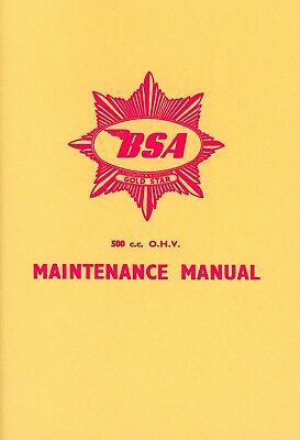 BSA DBD34 500 cc Gold Star OHV Reprinted Instruction Manual